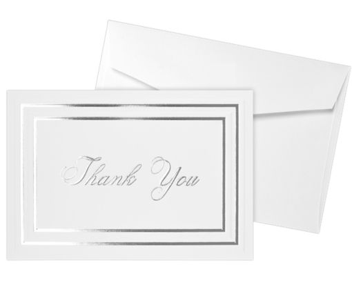 Envelope and Notecard Set - 50 Pack 100lb. White - Silver Foil Embossed Thank You