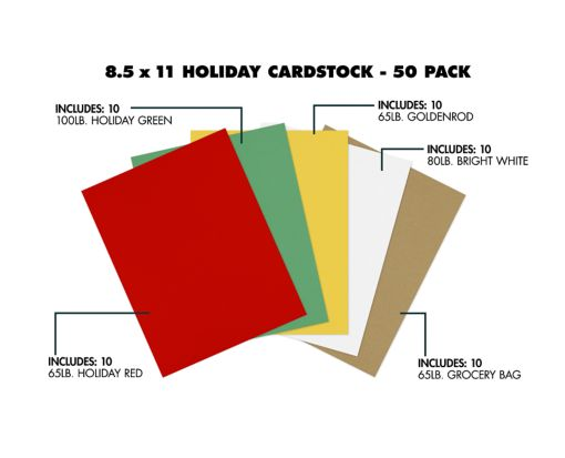 8 1/2 x 11 Cardstock - Holiday 50 Pack Assorted