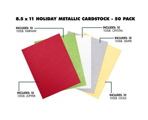 8 1/2 x 11 Cardstock - Metallic Holiday 50 Pack Assorted