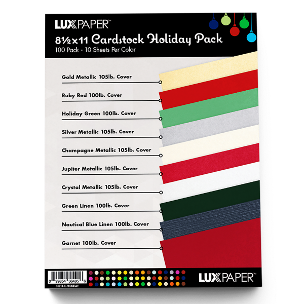 8 1/2 x 11 Cardstock - Holiday Pack of 100 Holiday Variety Assorted