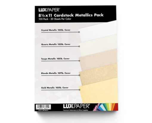 8 1/2 x 11 Cardstock - Metallics Pack of 100 Metallics Variety Assorted