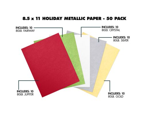 8 1/2 x 11 Paper - Assorted Metallic Holiday Pack of 50 Assorted