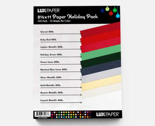 8 1/2 x 11 Pack - Holiday Pack of 100 (10 of each color) Holiday
