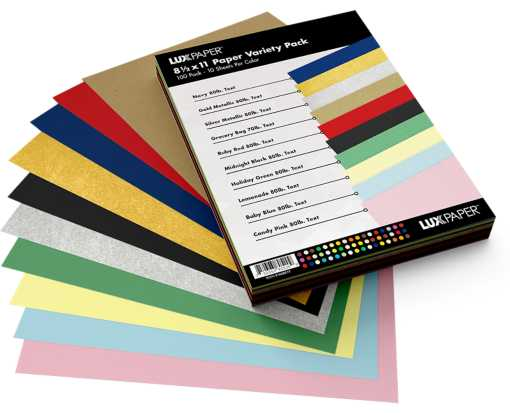 8 1/2 x 11 Paper - Variety Pack of 100 Paper Variety Assorted