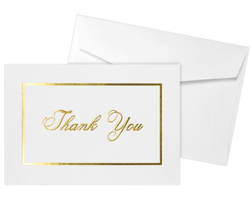 Envelope and Notecard Set - 50 Pack 100lb. Bright White - Gold Foil Embossed Thank You