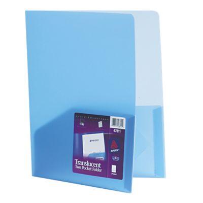 9 1/2 x 11 1/2 Poly Folder Translucent Blue