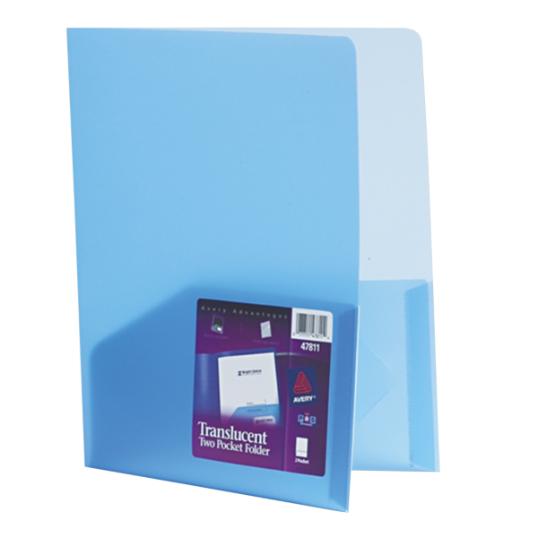 9 1/2 x 11 1/2 Poly Folder Translucent Blue