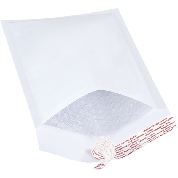 #1 7 1/4 x 12 Self-Seal Bubble Mailer White Kraft - Self Seal