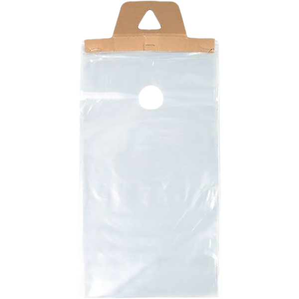 9 x 12 (Outter Dimension 9 x 15 + Hanger) LDPE Door Knob Bag (Pack of 100) Clear 1 Mil w/ Cardboard Hanger