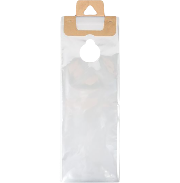 6 1/8 x 12 3/8 (Outer Dimension 6 1/8 x 16 1/8 + Hanger) BOPP Door Knob Bag (Pack of 100) Clear 1.2 Mil w/ Cardboard Hanger