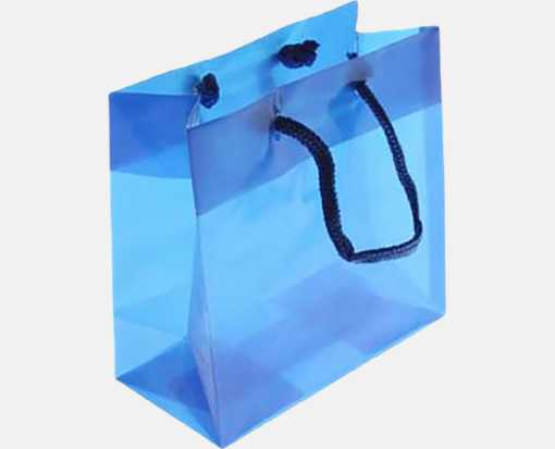 6 5/16 x 3 x 6 5/16 Glossy Clear Colored Gift Bag Blue