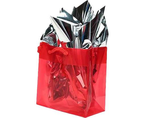 6 5/16 x 3 x 6 5/16 Glossy Clear Colored Gift Bag (Pack of 10) Red