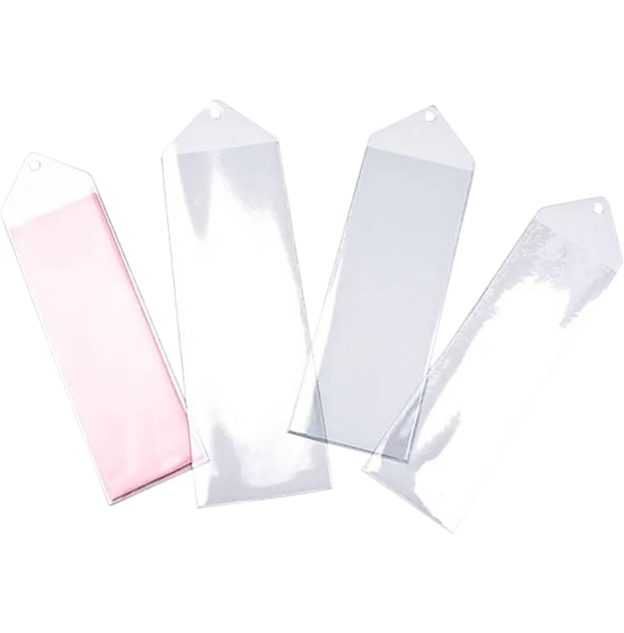 2 3/16 x 7 1/8 Hanging Vinyl Bookmark Sleeve (Pack of 100) Clear
