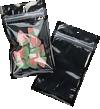 3 5/8 x 5 Hanging Zipper Barrier Bag w/Tear Notches (Pack of 100) Black Metallic w/Tear Notches