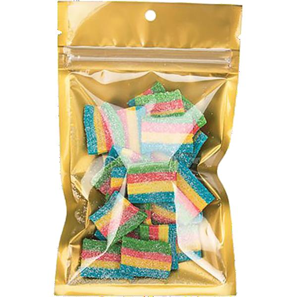 3 5/8 x 5 Hanging Zipper Barrier Bag w/Tear Notches (Pack of 100) Gold Metallic w/Tear Notches