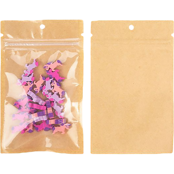 3 5/8 x 5 Hanging Zipper Barrier Bag w/Tear Notches (Pack of 100) Brown Kraft w/Tear Notches