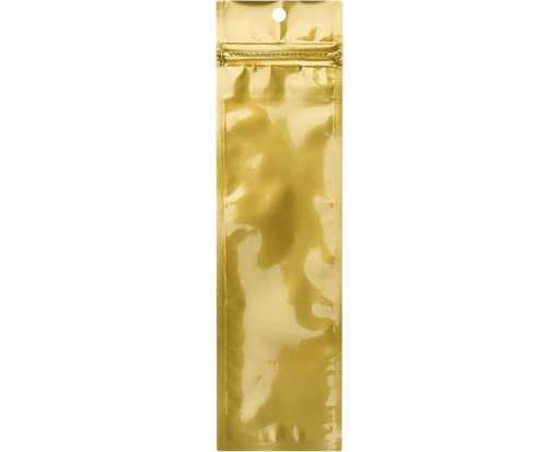 2 1/2 x 9 Hanging Zipper Barrier Bag (Pack of 100) Gold Metallic