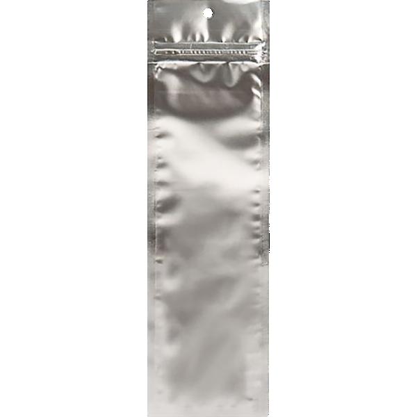 2 1/2 x 9 Hanging Zipper Barrier Bag (Pack of 100) Silver Metallic