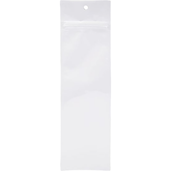 2 1/2 x 9 Hanging Zipper Barrier Bag (Pack of 100) White Metallic