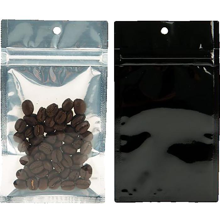3 x 4 1/2 Hanging Zipper Barrier Bag (Pack of 100) Black w/Silver