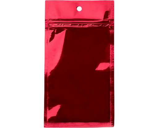 3 x 4 1/2 Hanging Zipper Barrier Bag (Pack of 100) Red Metallic