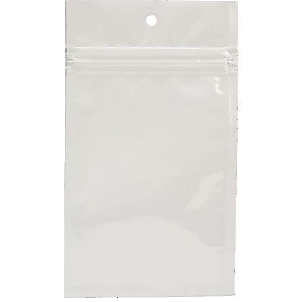 3 x 4 1/2 Hanging Zipper Barrier Bag (Pack of 100) White Metallic