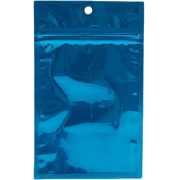 3 5/8 x 5 Hanging Zipper Barrier Bag (Pack of 100) Blue Metallic