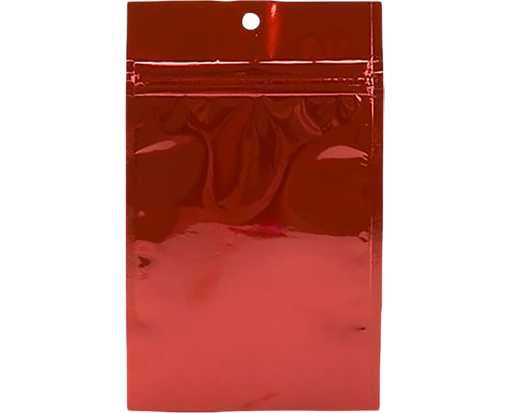 3 5/8 x 5 Hanging Zipper Barrier Bag (Pack of 100) Red Metallic