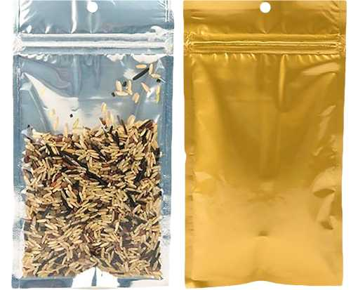 4 x 6 1/2 Hanging Zipper Barrier Bag (Pack of 100) Gold w/Silver Metallic