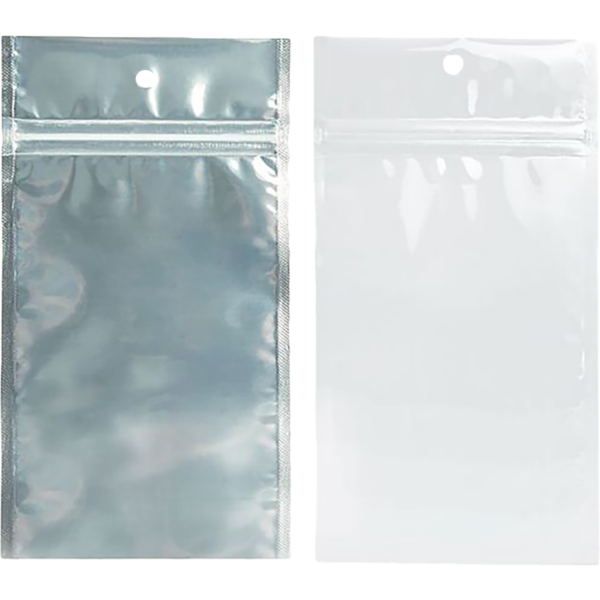 4 x 6 1/2 Hanging Zipper Barrier Bag (Pack of 100) White w/Silver Metallic
