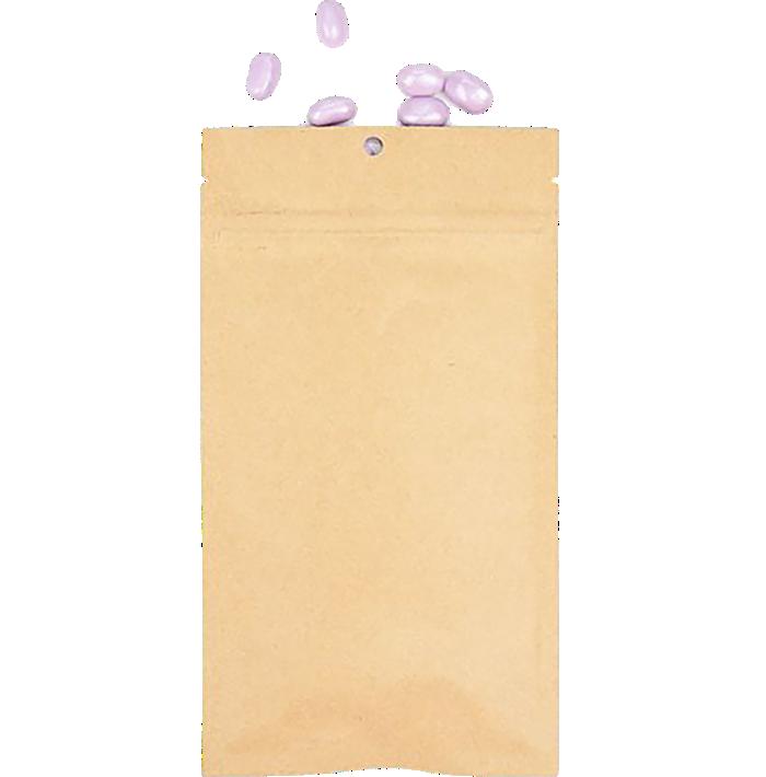 4 x 6 1/2 Hanging Zipper Barrier Bag w/Tear Notches (Pack of 100) Brown Kraft w/Tear Notches