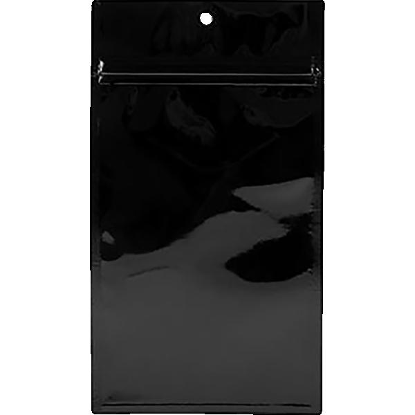 4 x 6 1/2 Hanging Zipper Barrier Bag (Pack of 100) Black Metallic