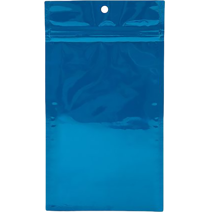 4 x 6 1/2 Hanging Zipper Barrier (Pack of 100) Bag Blue Metallic