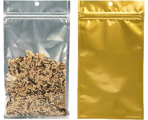 5 x 8 3/16 Hanging Zipper Barrier Bag (Pack of 100) Gold w/Silver Metallic