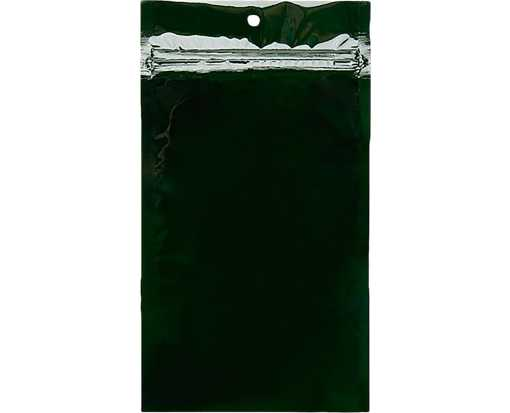 5 x 8 3/16 Hanging Zipper Barrier Bag (Pack of 100) Hunter Green Metallic