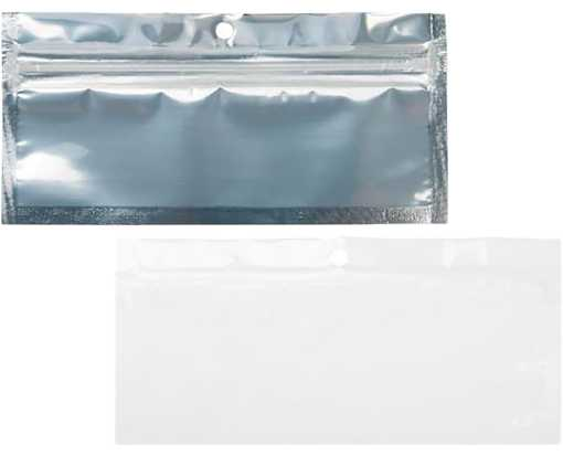 5 1/2 x 1 3/4 Hanging Zipper Barrier Bag (Pack of 100) White w/Silver Metallic