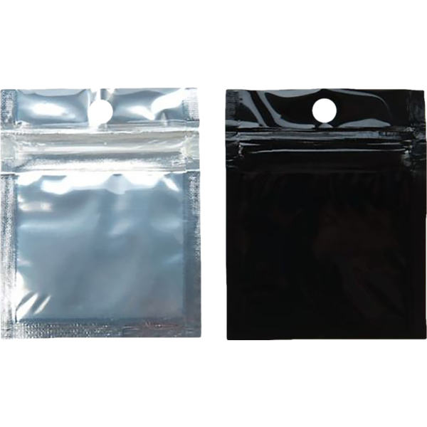 2 x 2 Hanging Zipper Barrier Bag (Pack of 100) Silver Metallic w/Black