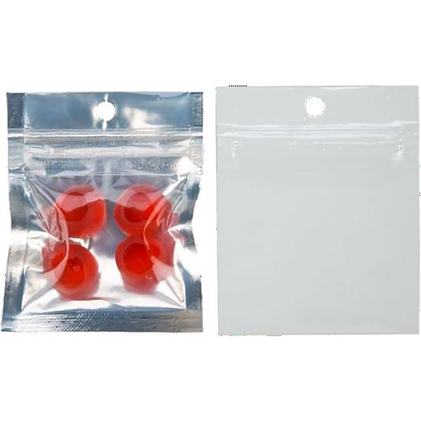 2 x 2 Hanging Zipper Barrier Bag (Pack of 100) Silver Metallic w/White