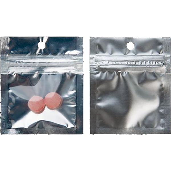 2 x 2 Hanging Zipper Barrier Bag (Pack of 100) Silver Metallic