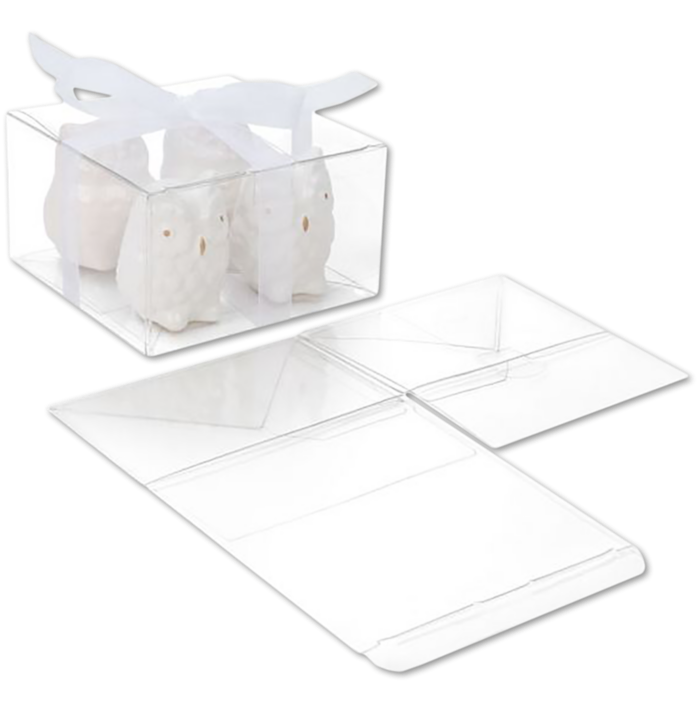 5 1/8 x 5 1/8 x 3 Crystal Clear Box w/Pop & Lock Top (Pack of 25) Clear