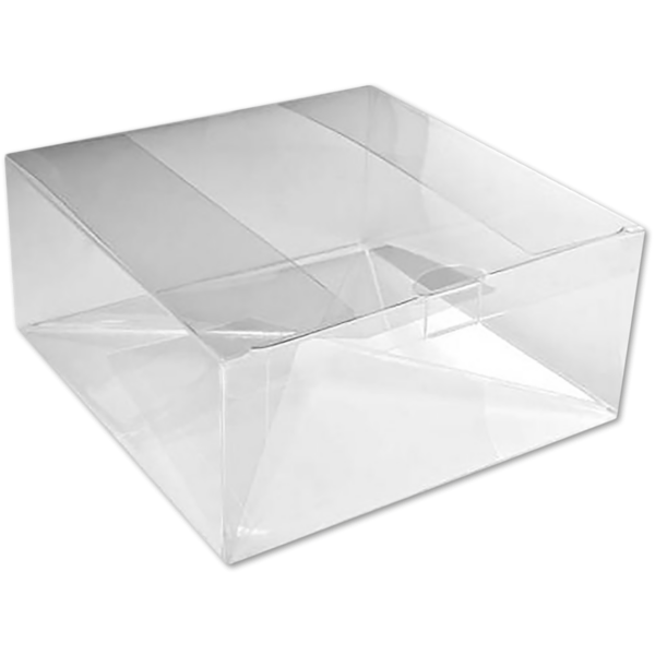 8 1/8 x 8 1/8 x 3 Crystal Clear Box w/Pop & Lock Top (Pack of 25) Clear