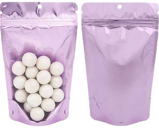 5 1/8 x 3 1/8 x 8 1/8 Stand Up Zipper Pouch with Hang Hole (Pack of 100) Brilliant Lavender
