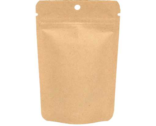 4 x 2 3/8 x 6 Stand Up Zipper Pouch with Hang Hole (Pack of 100) Brown Kraft