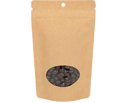 5 1/8 x 3 1/8 x 8 1/8 Stand Up Zipper Pouch w/ Oval Window & Hang Hole (Pack of 100) Brown Kraft