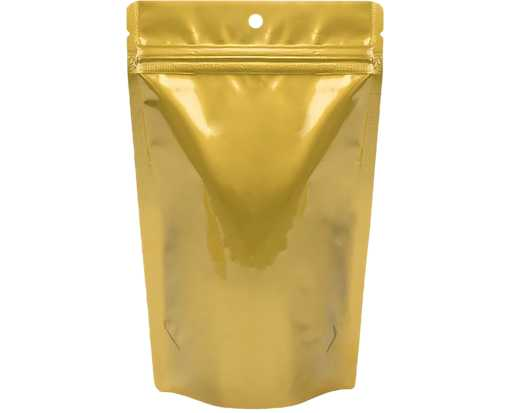 5 1/8 x 3 1/8 x 8 1/8 Stand Up Zipper Pouch with Hang Hole (Pack of 100) Gold Metallic