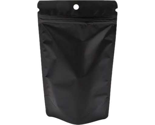 5 1/8 x 3 1/8 x 8 1/8 Stand Up Zipper Pouch with Hang Hole (Pack of 100) Black Matte