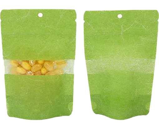 4 x 2 3/8 x 6 Stand Up Zipper Pouch w/ Rectangle Window & Hang Hole (Pack of 100) Green Rice Paper