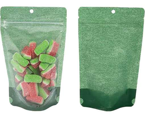 5 1/8 x 3 1/8 x 8 1/8 Stand Up Zipper Pouch with Hang Hole (Pack of 100) Harvest Green Rice Paper