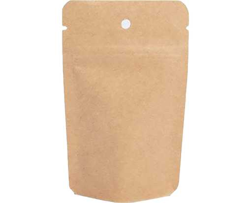 3 1/8 x 2 x 5 1/8 Stand Up Zipper Pouch with Hang Hole (Pack of 100) Brown Kraft