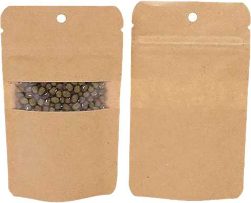 3 1/8 x 2 x 5 1/8 Stand Up Zipper Pouch w/ Rectangle Window & Hang Hole (Pack of 100) Brown Kraft